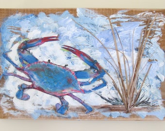 Chesapeake Bay Crab Mixed Media Art