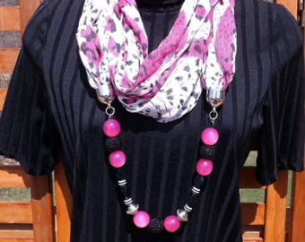 Scarf-Lace Hot Pink Leopard