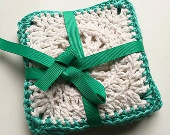 Crochet square coasters, table mats, home decor, table decor set of 4 in various colours