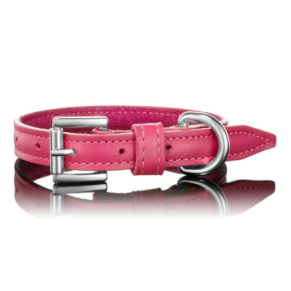 Pink Leather Dog Collars