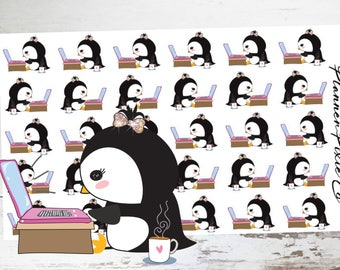 Pippa the Penguin // Planner Stickers // Penguin Planner Stickers // Computer // Work