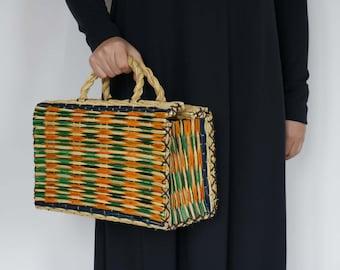 Colored Portuguese Reed Bag, shooping bag, farmhouse decor, basket,mala, junco,handbags, tradição, portugal.