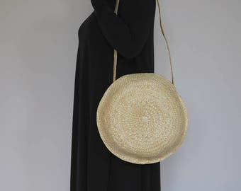 Round straw basket with long handle, Straw Bag, Summer Bag, Beach Bag, Straw Tote, Beach Tote.