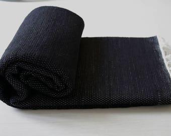 Large Woven Rag Rug, black, Handwoven Carpet, Handwoven Rug, Throw Rug, Boho Rug, Portuguese Cotton Rug.
