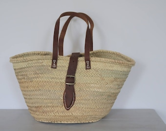 Straw Tote, leather handles, large basket, straw bag, picnic basket, Eco Friendly Bag, beach bag, beach basket, beach tote.