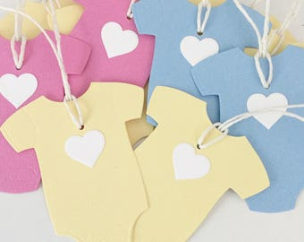 Handmade Baby Shower Tags, Gender Reveal Party Tags, Pregnancy Reveal, Baby Reveal, Baby Thank You Gift Tags, Baby Rompers, Pink Blue Yellow