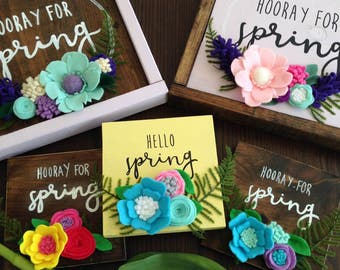 SALE! - Hooray for Spring Wooden Sign with Felt Flowers, Hello Spring, Spring Sign, Felt Flowers, Spring Decor