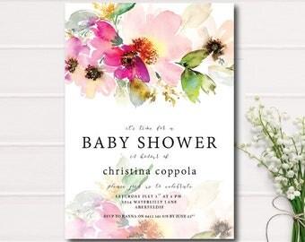 Gender Neutral Baby Shower Invitation, Pink Floral Baby Shower Invitation, Garden Baby Shower Invite, Rustic Baby Shower, Baby Shower Invite