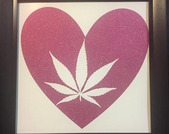 High heart - cannabis inspired paper art, cannabis decorations, cannabis wall art