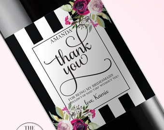 Thank You For Being My Bridesmaid Wine Label, Will You Be My Bridesmaid, Maid of Honor Gift,  Bridesmaid Proposal Wine Label,  132.5