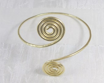 Free shipping / upper arm bracelet, metal wire brass!