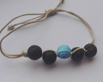 Lava Rock adjustable aromatherapy diffuser bracelet vegan