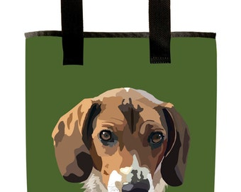 Reuseable Market Bag - Made from Recycled Materials - Eco-Friendly - Washable - Grocery Bag - Beagle - Dog