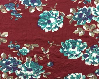 1.5 Yard Knit Fabric, Jersey Knit Fabric, Fabric by the Yard, Stretch Fabric, Floral Fabric - Burgundy & Teal Floral