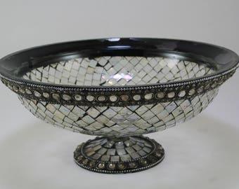 Vintage Mosaic Glass Pedestal Bowl- Glass Mosaic Fruit Bowl