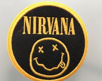"""NIRVANA LOGO Patch - Embroideed Iron On Patch - 3"""" - Kurt Cobain Grunge"""