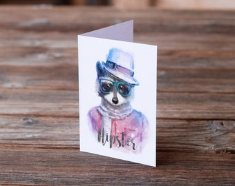 Greeting Card, Hipster Gift, Raccoon, Funny Card, Woodland Animals, Watercolor Animal, Hipster Glasses, Grunge Gift, Cute Animal, Fedora