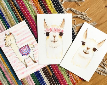 Llama / Alpaca original watercolour postcard A6 size