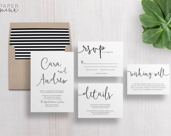 Wedding Invitation | Wedding Invitation Suite | Calligraphy Invitation | Black and White Invitation | Printed Wedding Suite | Cara