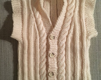 6-9  Month Knitted Sleeveless Cardigan