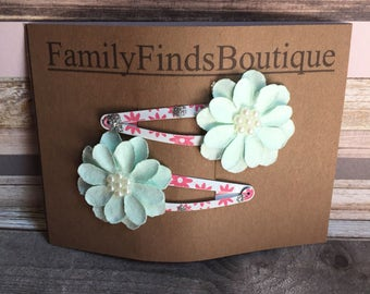 Flower Snap Hair Clips Gifts For Her Wedding Light Blue Flower Girl Pink Floral Hair Accessories