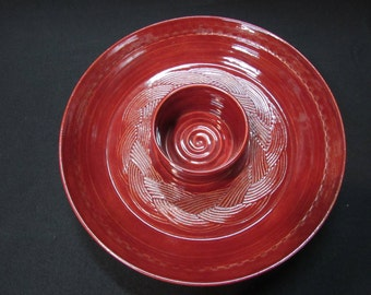 Pottery Chip and Dip Bowl/Hand Made/Wheel Thrown/Red/Serving Piece/Signed and Stamped