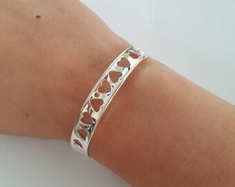 Beautiful Love Heart Cuff Bracelet