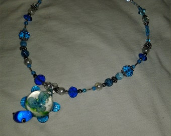 Murano Glass Turtle Pendant Necklace