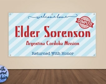 Missionary Banner - Welcome Home - Missionary Homecoming Vinyl Sign - Missionary Welcome Home Banner - LDS Missionary Homecoming Banner