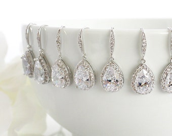 Personalized Wedding Earrings, Bridal Earrings, Crystal Teardrop Earrings, Bridesmaid Gift, Bridesmaid Earrings, Bridal Party Gift E3020