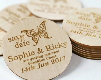 40 Pieces Butterfly Stlyes Wedding Save the Date Magnets, Personalized Elegant Wedding Invitation ,Wedding Favors ,Fridge Magnet