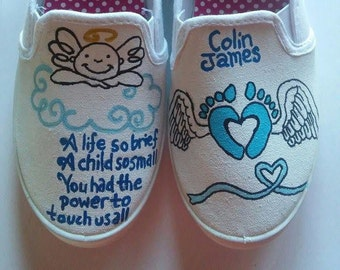 Infant and pregnancy loss hand painted shoes