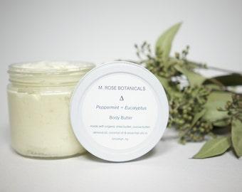 Peppermint + Eucalyptus Vegan All-Natural Body Butter (12 ounces)