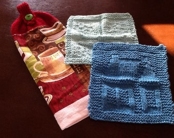 Hand Made Knit Towel Topper/ Dish cloths
