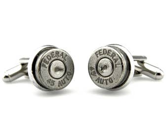 Bullet Cufflinks - Cowboy Cuff links - Federal 45 Auto Cufflinks - 45 Caliber Cufflinks - Unique Gift Cufflinks - Industrial Cufflinks
