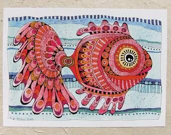 Digital printing, red fish, DinA 4