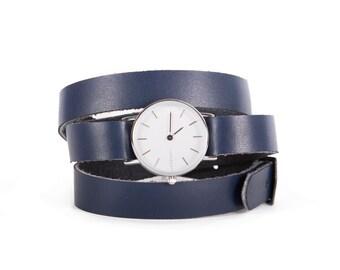 Navy blue women's watch - wrapped women Navy Blue Watch