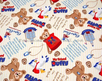 df002 - 1 Yard Japanese Cotton Twill Fabric - Cartoon Characters, Minnie Mouse Friend Duffy Beer - Yellow (W140)