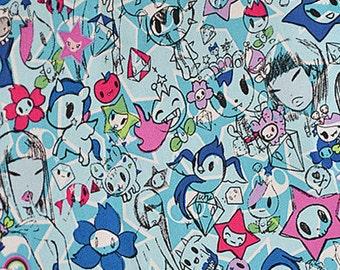tk003 - 1 Yard Cotton Woven Fabric - Cartoon Characters, Tokidoki - Blue (W140)
