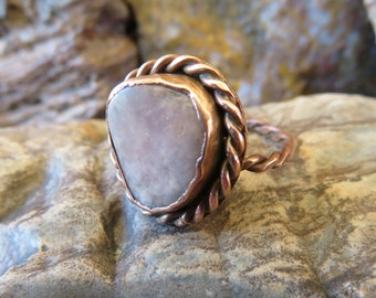 50% OFF Close Out Sale // Rose Quartz and Copper Twisted Wire Ring Size 7