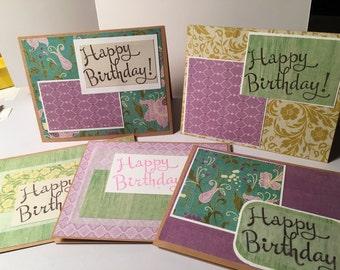Set of 5 Birthday Cards, blank inside