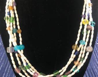 Pearl and colorful bead multi-strand necklace