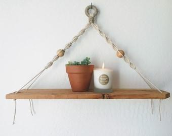 Macrame and Wooden Shelf