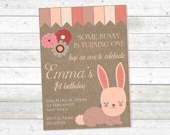 Girl Bunny Birthday Invitation, Bunny Birthday Invitation, Pink Birthday Invitation, Burlap, One Year Old, Printable, Personalized