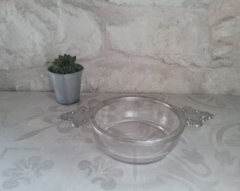 Dish, Bowl, salad bowl to ear in glass and Tin 'The Manor pewter, Paris France'