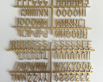 Gold 1 Inch Letters- 170 Helvectica font 1 Inch letters for Retrogram LetterBoards