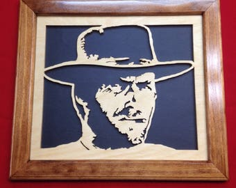 Clint Eastwood Wooden Portrait
