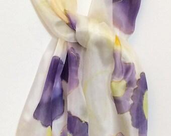 purple flowers, garden memory, original design silk scarf,hand painted in Scotland