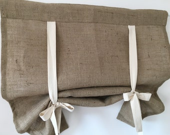 Burlap Or Linen Curtains Country Kitchen Tie Up Valance Rustic Window Treatment French Farmhouse Living