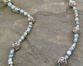 Beaded light blue and and silver necklace